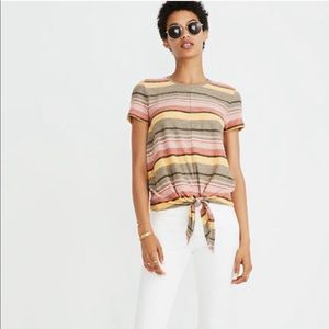 Madewell Texture & Thread striped tie front tee